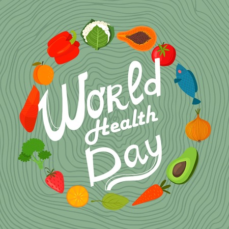 papaya: World health day concept with  healthy food. Design in a colorful style.