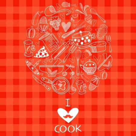 impresión: Me encanta cocinar diseño de la tarjeta. Ilustración del vector en el fondo del concepto. Vectores