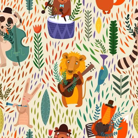 Cartoon  concept wallpaper. Raccoon, lion, bear, hare, rabbit and fox playing on musical instruments. Seamless pattern can be used for wallpaper, pattern fills, web page backgrounds