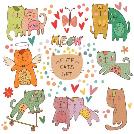 Cute cats set in cartoon style. Childish vector illustration Illustration