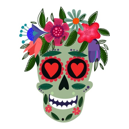 Concept Vector Card- Cute Skull with floral wreath.Vector illustration in mexican tradition