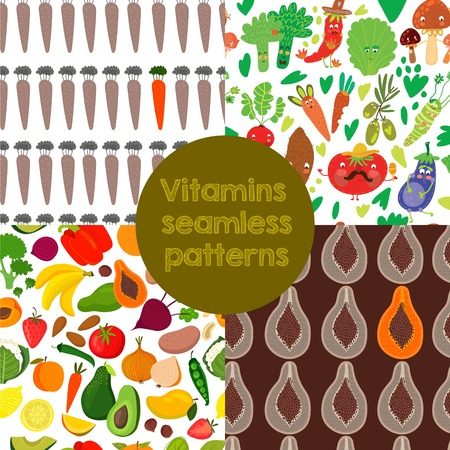 rich in vitamins: 4 Bright  Vitamins seamless patterns. Vector set of vitamin rich foods.