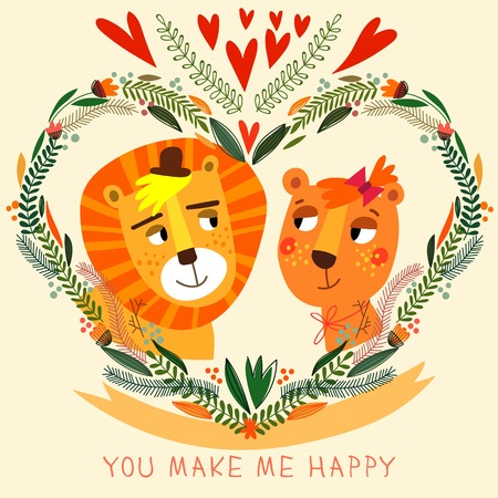 lion cartoon: You Make My Happy card in bright colors. Cute couple of  lion with flowers in cartoon style. Romantic Valentines day background in vector Illustration