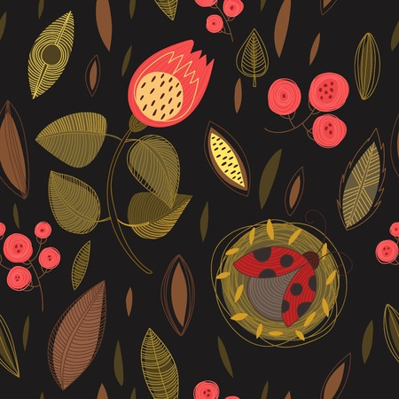 Concept floral seamless pattern with summer flowers,leafs and ladybug.Can be used for wallpaper, pattern fills, web page background,surface textures