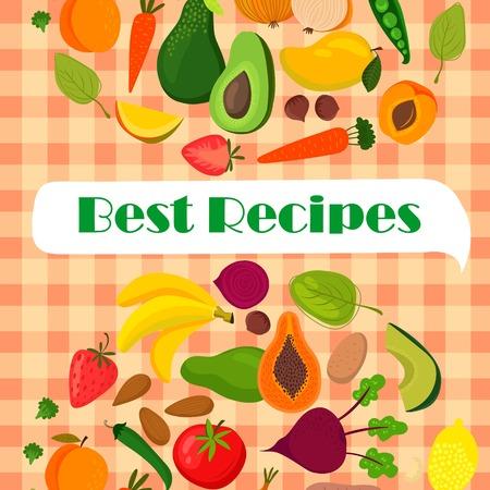 spinat: Rezept-Vorlage Vektor-Design mit Obst und Gem�se: Bananen, Mango, Papaya, Orangen, Zitronen, Erdbeeren, Avocado, Spinat, Karotten, R�ben, Kartoffeln, Zwiebeln, Tomaten und Erbsen