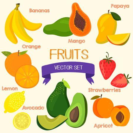 platano caricatura: Frutos luminosos en vector.Banana, mango, papaya, naranja, limón, fresa, aguacate y durazno