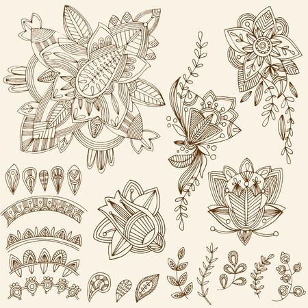 mhendi: Mehndi Tattoo Doodles Set 2- Abstract Floral Illustration Design Elements on white background Illustration