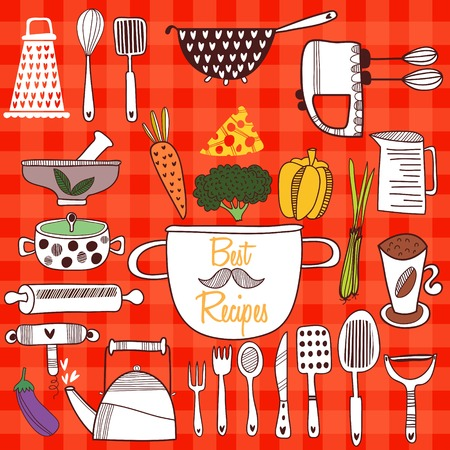 skillet: Best Recipes-Set of kitchen tools on cconcept background. Vector illustration of kitchen doodles collection-Pan, skillet, apron, scales, mixer and other