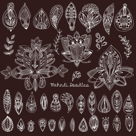 mhendi: Mehndi Tattoo Doodles Set 1- Abstract Floral Illustration Design Elements on black background Illustration