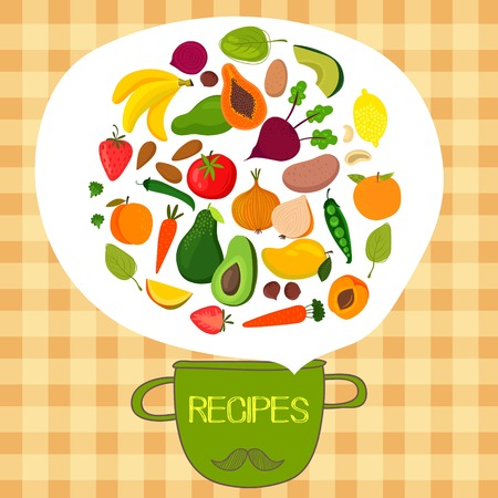 spinach: Recipes concept card with fruits and vegetables:  banana, mango, papaya, orange, lemon, strawberry, avocado,peach,spinach,carrots, beet, pepper,potatoes, onion, tomatoes and green peas