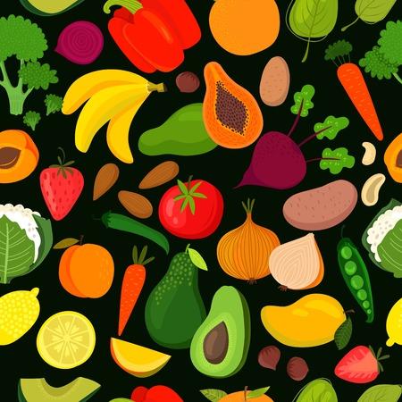 spinat: Helle geschmack nahtlose Muster mit Banane, Mango, Papaya, Orangen, Zitronen, Erdbeeren, Avocado, Pfirsich, Spinat, Brokkoli, Karotten, R�ben, Paprika, Blumenkohl, Kartoffeln, Zwiebeln, Tomaten und gr�nen Erbsen Illustration
