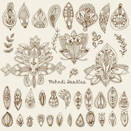 mhendi: Mehndi Tattoo Doodles Set 1- Abstract Floral Illustration Design Elements on white background