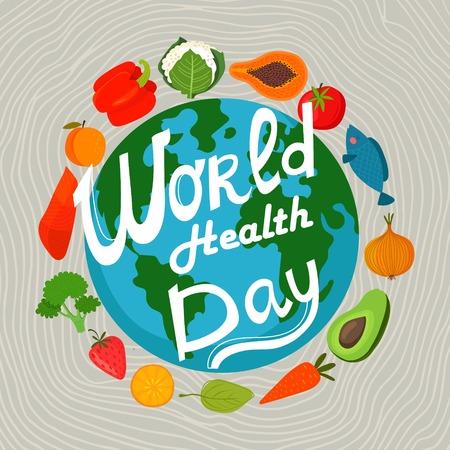 zdravotnictví: Světová zdravotní den koncept s zemi a zdravé potraviny. Návrh v pestrém stylu.
