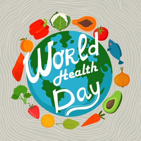 world design: World health day concept with earth and healthy food. Design in a colorful style.