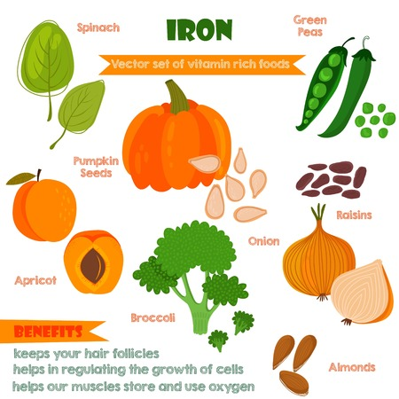iron: Vitamins and Minerals foods Illustrator set 4.Vector set of vitamin rich foods. Iron-spinach, pumpkin seeds, green peas, apricots, broccoli, onions, raisins and almonds
