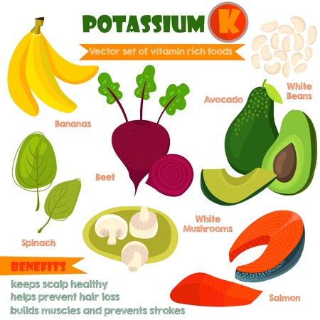 rich in vitamins: Vitamins and Minerals foods Illustrator set 3.Vector set of vitamin rich foods.Pottansium K-bananas, beets, spinach, avocado, white beans, mushrooms and salmon