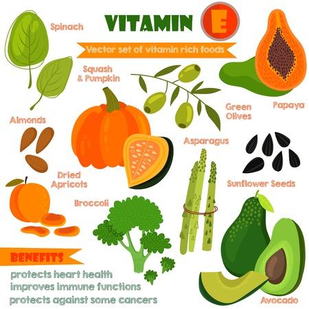 gesundheit: Vitamine und Mineralstoffe Lebensmitteln Illustrator gesetzt 13.Vector Reihe von Vitamin-reiche Lebensmittel. Vitamin E-Spinat, getrockneten Aprikosen, Mandeln, Kürbis und Kürbis, Brokkoli, grüne Oliven, Papaya, Sonnenblumenkerne, Avocados und Spargel