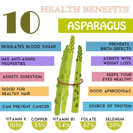 10 Health benefits information of Asparagus. Nutrients infographic