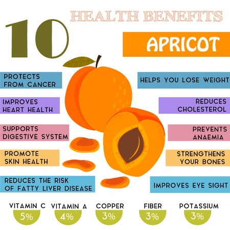 nutrients: 10 Health benefits information of Apricot. Nutrients infographic