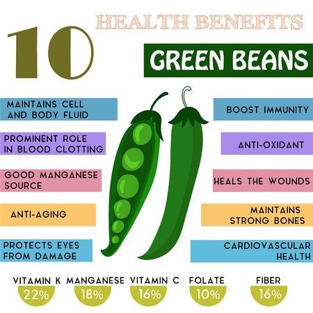 10 Voordelen voor de gezondheid informatie van Green Beans. Voedingsstoffen infographic, vector illustratie. - Voorraad vector
