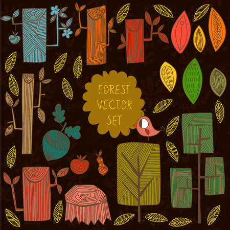 tree nuts: Autumn vector set. Collection of different cartoon trees -stock vector Illustration