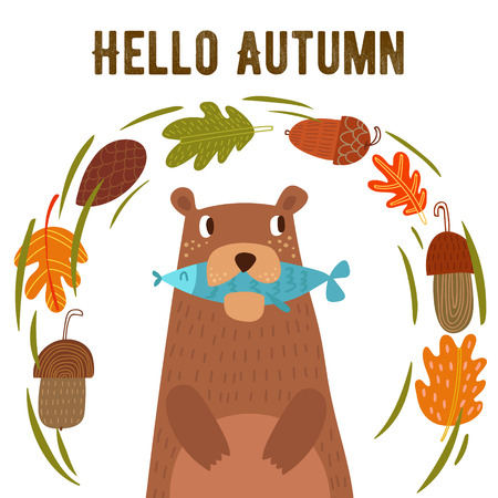 acorn: Vector autumn card with wreath from leaves and acorns. Vintage autumn card with cute bearl and text Hello autumn. -stock vector