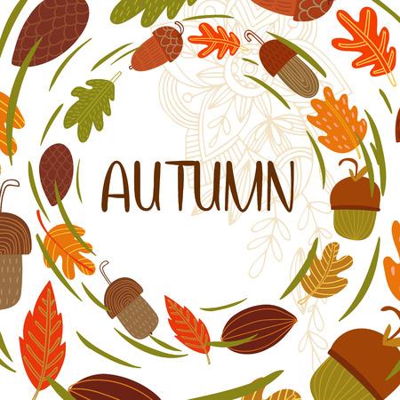 Vector vintagr autumn card with wreath from leaves and acorns. -stock vector Ilustração