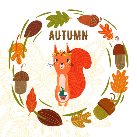 Vector autumn card with wreath from leaves and acorns. Vintage autumn card with cute little squirrel and text