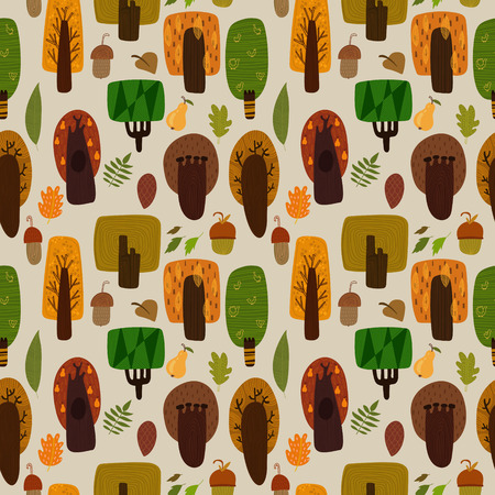 pine nuts: Forest seamless pattern with trees and leaves. Seamless pattern can be used for wallpaper, pattern fills, web page backgrounds, surface textures. Illustration