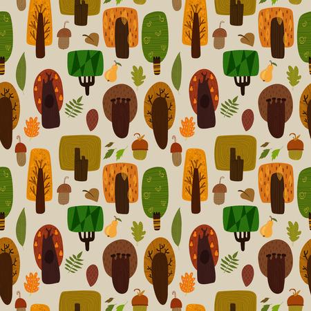 pinoli: Foresta seamless con alberi e foglie. Seamless pattern può essere utilizzato per carta da parati, riempimenti a motivo, sfondi pagina web, texture di superficie.
