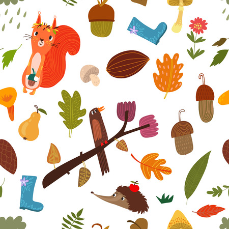 web backdrop: Seamless pattern with cartoon Forest Animals and autumn elements.Vector backdrop. Bright pattern. Autumn template. Use for wallpaper, pattern fills, web page background