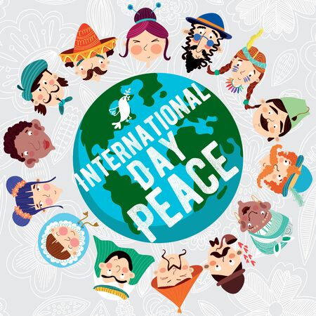 nationalities: International Day of Peace- concept card with earth  with different nationalities Design in a colorful style.