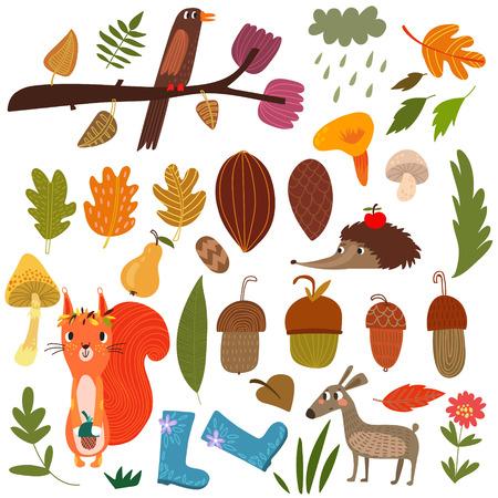 Vector Set of cartoon Forest Animals and autumn elements- stock vector Ilustração