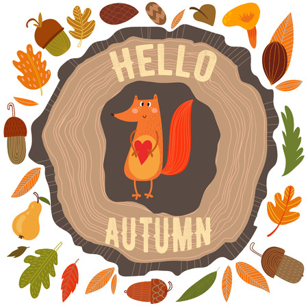 retro cartoon: Vector autumn card with wreath from leaves and acorns. Vintage autumn card with cute fox and text Hello autumn. -stock vector Illustration