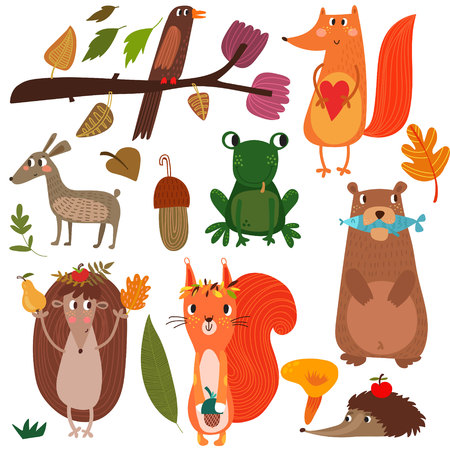 frog: Vector Set of Cute Woodland and Forest Animals. Fox, squirrel, hedgehog, bear, frog.(All objects are isolated groups so you can move and separate them)-stock vector
