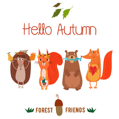 fox: Vector autumn card with wreath from leaves and acorns. Vintage autumn card with cute  hedgehog,squirrel,bear,fox and text Hello autumn. -stock vector Illustration