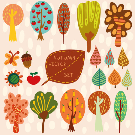 arbol de manzanas: Otoño conjunto de vectores, Colección de diferentes árboles de la historieta hojas y otros