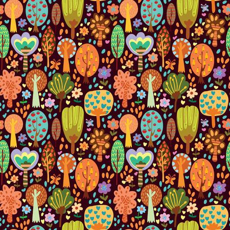 arboles de caricatura: Concepto de patrón pattern.Seamless perfecta al aire libre se puede utilizar para el papel pintado, patrones de relleno, fondos de página web, texturas superficiales.