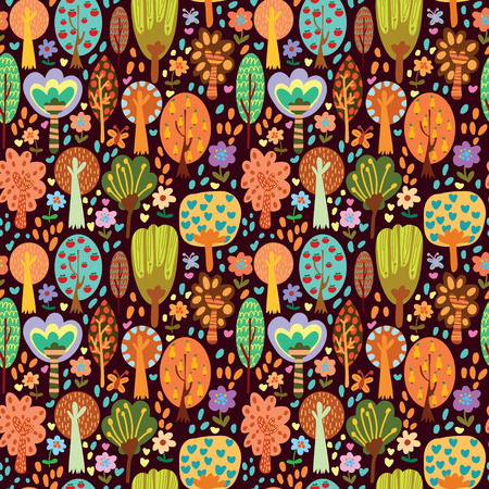 cartoon trees: Outdoor concept seamless pattern.Seamless pattern can be used for wallpaper, pattern fills, web page backgrounds, surface textures.