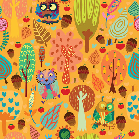 summery: Outdoor concept seamless pattern.Cartoon trees and owls in vector background.Seamless pattern can be used for wallpaper, pattern fills, web page backgrounds, surface textures. Illustration