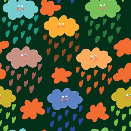 room decor: Vector eamless pattern with clouds. Seamless pattern can be used for wallpaper, pattern fills, web backgrounds, surface textures. Gorgeous seamless floral background Illustration