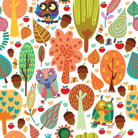 animal pattern: Outdoor concept seamless pattern.Cartoon trees and owls in vector background.Seamless pattern can be used for wallpaper, pattern fills, web page backgrounds, surface textures. Illustration