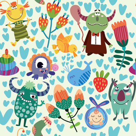 Cute children seamless pattern with monsters and flowers. Seamless pattern can be used for wallpaper, pattern fills, web page background, surface textures.