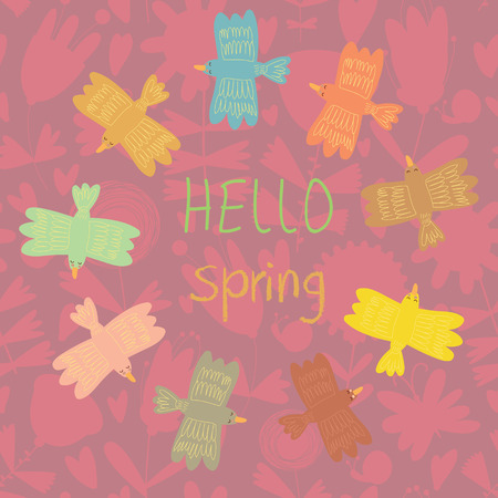 young leaves: Spring card. Cute vector background with stylish birds