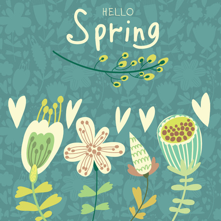 bright: Spring flowers and birds. Cartoon floral background in vector. Spring concept card in bright colors