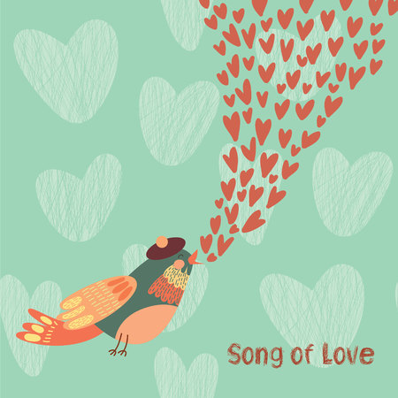 love song: Song of love. Concept vector card with a bird that gives love.