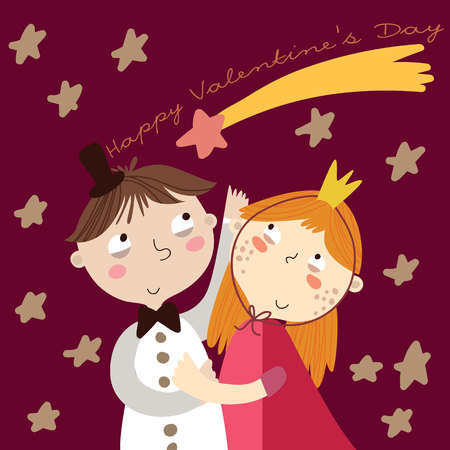girl cute: Valentines Day.Romantic concept. Loving boy and girl. Cute cartoon vector illustration