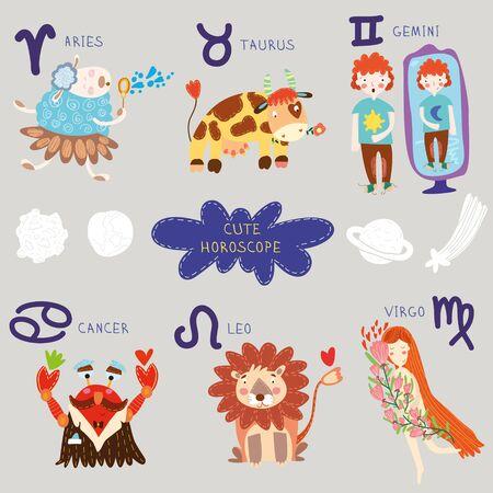 Cute horoscope. Zodiac set.Aries, taurus, gemini,cancer,leo,virgo