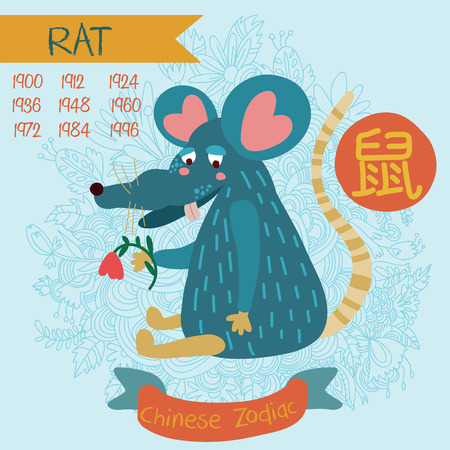Cute Chinese zodiac sign - rat. Vector illustrationyearsChinese character. Doodle hand-drawn style