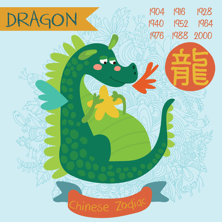 japanese new year: Cute Chinese zodiac sign - dragon. Vector illustrationyearsChinese character. Doodle hand-drawn style
